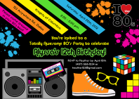 80�s Theme Birthday Party Invitations