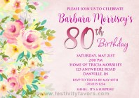 Floral 80th Birthday Party Invitations
