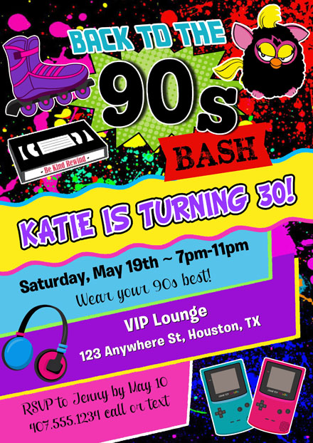 90s Birthday Party Invitations
