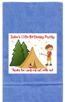 Camp Out Camping Birthday Party Goodie Loot Bag Labels