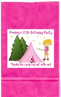 Camp Out Camping Birthday Girl Party Goodie Loot Bag Labels