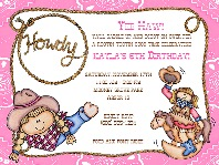 Cowgirl Pink Birthday Party Invitations