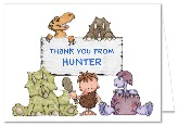 Dinosaur Birthday Party Thank You Note Cards Personalized