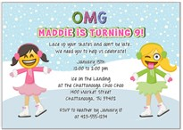 Emoji Ice Skating Birthday Party Invitations