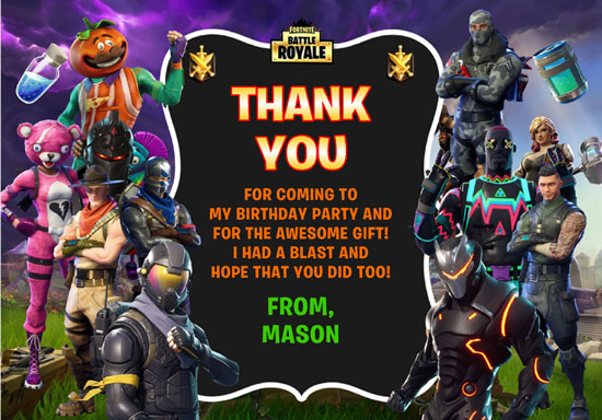 Fortnite Thank You Cards