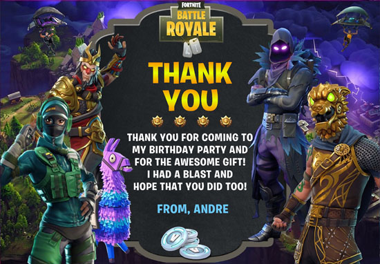 Fortnite Thank You Cards New