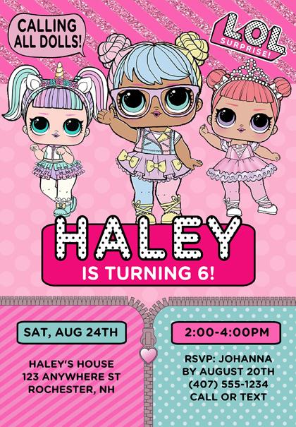 LOL Doll Birthday Party Invitations