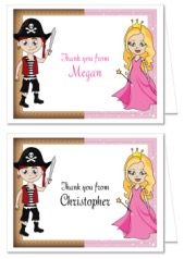 Pirate and Princess Thank You Note Cards Personalized