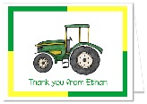 Green Tractor Thank You Note Cards Personalized