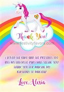 Rainbow Unicorn Thank You Cards