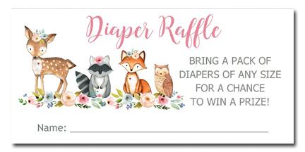 Woodland Animals Girl Baby Shower Diaper Raffle Tickets