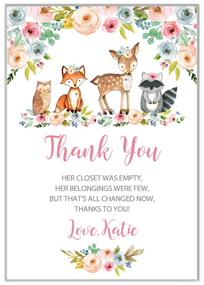 Woodland Animals Girl Baby Shower Thank You Cards