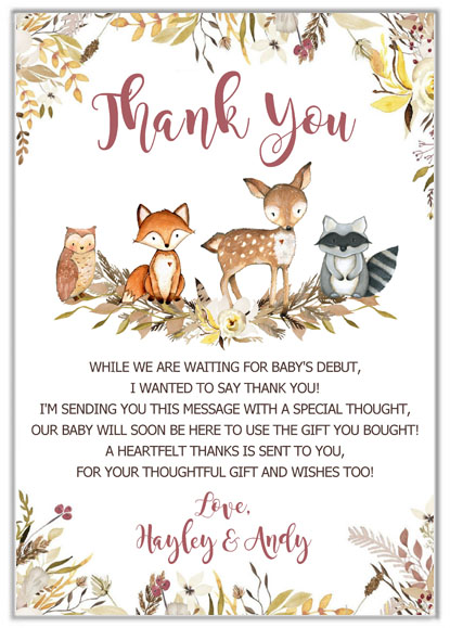 Woodland Animals Baby Shower Thank You Cards