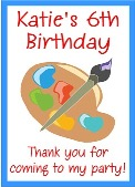 Arts and Crafts Theme Birthday Crayon Box Labels