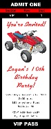 ATV 4 Wheeler Birthday Party Ticket Invitations