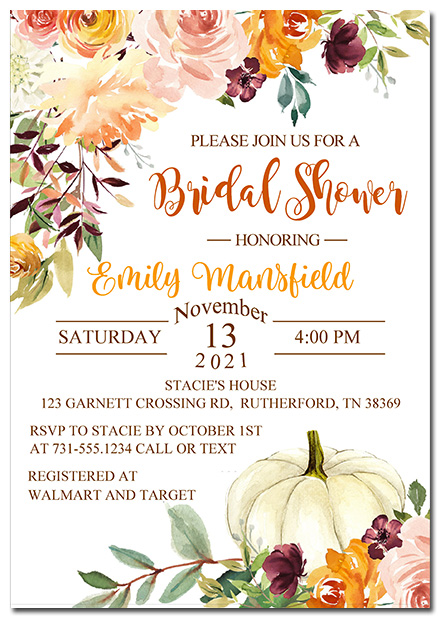 Autumn Fall Bridal Shower Invitations