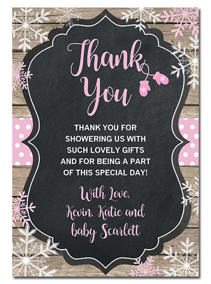 Baby It's Cold Outside Snowflake Baby Shower Thank You Cards