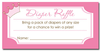 Princess Baby Shower Diaper Raffle Tickets