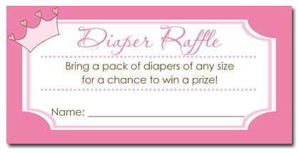 Princess Baby Shower Diaper Raffle Tickets