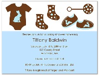 Trendy Mod Clothes Blue Brown Baby Shower Invitations Boy