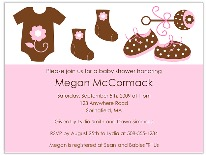Trendy Mod Clothes Pink Brown Baby Shower Invitations Girl