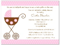 Stroller Fun Girl Pink Polka Dots Baby Shower Invitations
