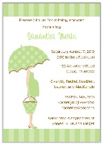 Mod Mom Green Umbrella Trendy Baby Shower Invitations
