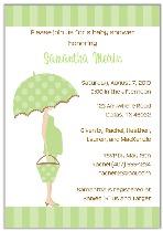 Mod Mom Green Umbrella Trendy Baby Shower Invitations