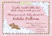 Twinkle Star Bear Baby Shower Invitations Girl