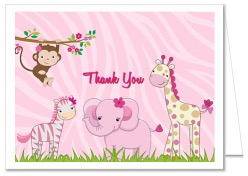 Jungle Animals Girl Baby Shower Thank You Note Cards