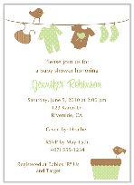 Trendy Clothesline Baby Shower Invitations Boy Girl