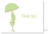 Mod Mom Trendy Green Umbrella Baby Shower Thank You Note Cards