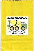 Construction Cement Truck Birthday Party Goodie Loot Bag Labels