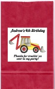 Construction Backhoe Truck Birthday Party Goodie Loot Bag Labels