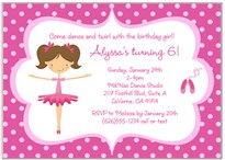 Ballet Ballerina Birthday Party Invitations