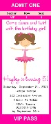Ballet Ballerina Birthday Party Ticket Invitations