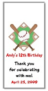 Baseball Birthday Personalized Mini Candy Bar Wrappers