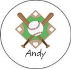 Baseball Round Envelope Seals Labels
