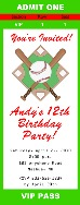 Baseball Birthday Party Ticket Invitations