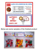 Basketball Birthday Party Bag Toppers w/Recloseable Bags