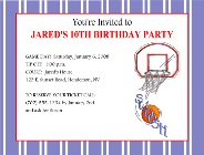 Basketball Birthday Party Invitations