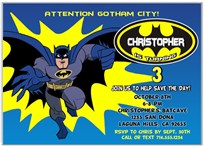 Batman Birthday Party Invitations
