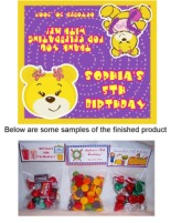 Build a Bear Birthday Party Bag Toppers w/Recloseable Bags
