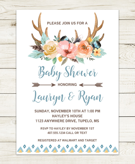 Boho Deer Antlers Baby Shower Invitations