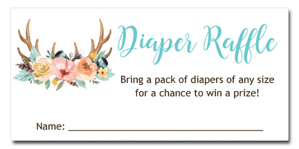 Boho Deer Antlers Baby Shower Diaper Raffle Tickets