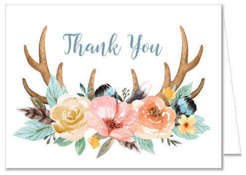 Boho Deer Antlers Baby Shower Thank You Cards