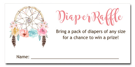 Boho Dreamcatcher Baby Shower Diaper Raffle Tickets