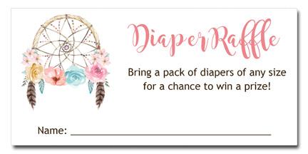 Boho Dreamcatcher Baby Shower Diaper Raffle Tickets