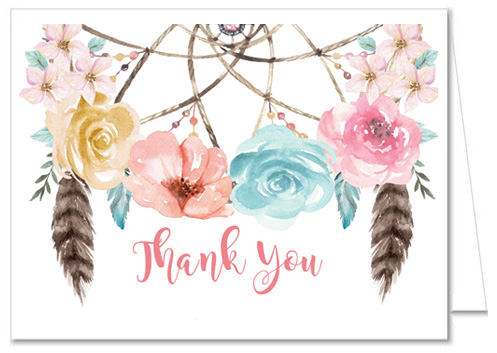 Boho Dreamcatcher Baby Shower Thank You Cards