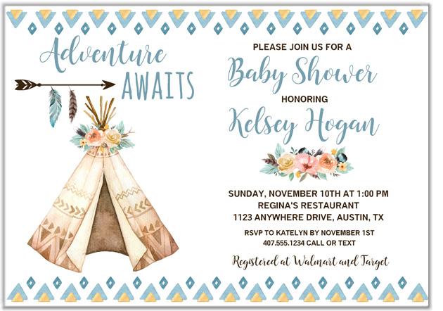 Boho Teepee Baby Shower Invitations